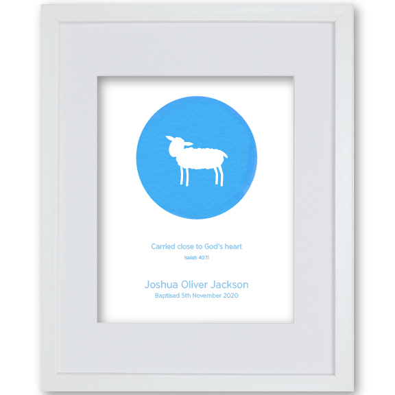 Grandson Baptism Gift Framed Artwork Personalised - Lamb
