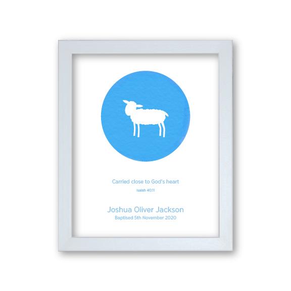 Godson Baptism Gift Framed Artwork Personalised - Lamb