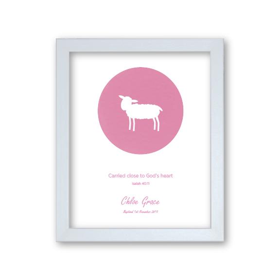 Goddaughter Baptism Gift Framed Artwork Personalised - Lamb