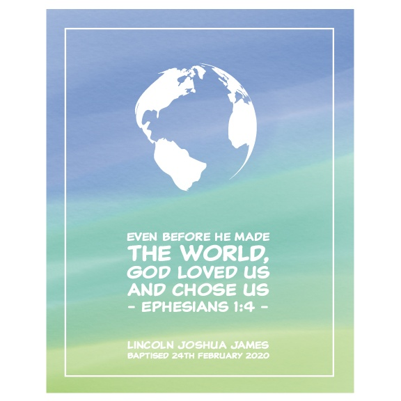 Kids Christian Wall Art Boys personalised - Ephesians 1:4