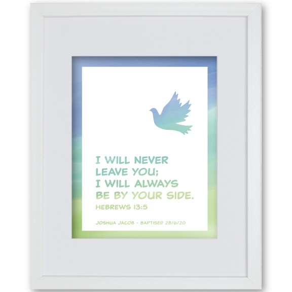 Boys Christening Present Framed Dove Print