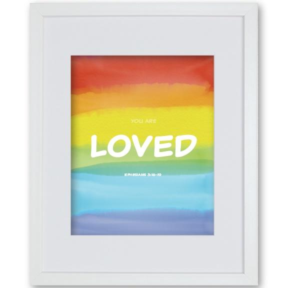 Godson Baptism Gift Framed Artwork - Rainbow