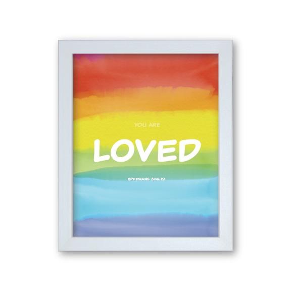 Grandson Baptism Gift Framed Artwork - Rainbow