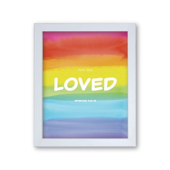 Granddaughter Baptism Gift Framed Artwork - Rainbow