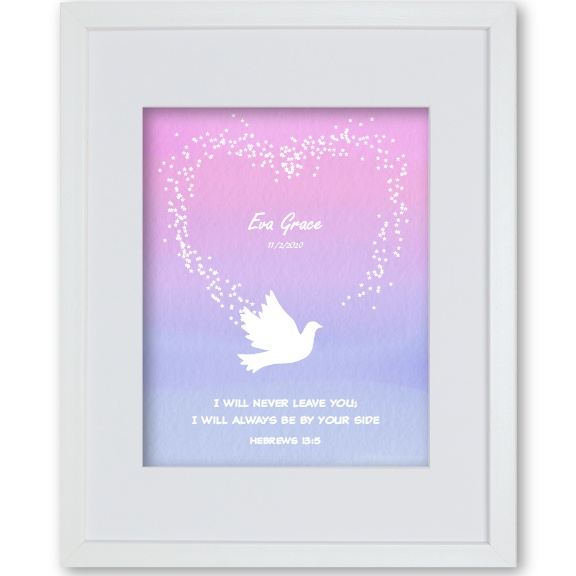 Baby Girl Christening Gift Personalised Artwork Dove