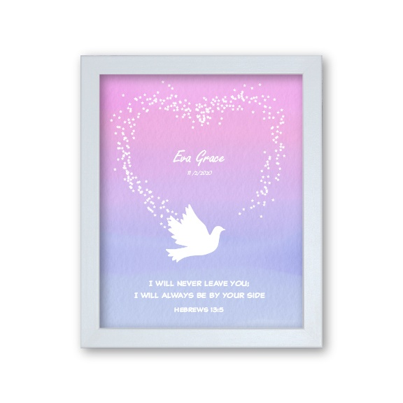 Granddaughter Baptism Gift Personalised Artwork Dove