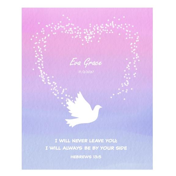 Goddaughter Baptism Gift Personalised Artwork - Dove