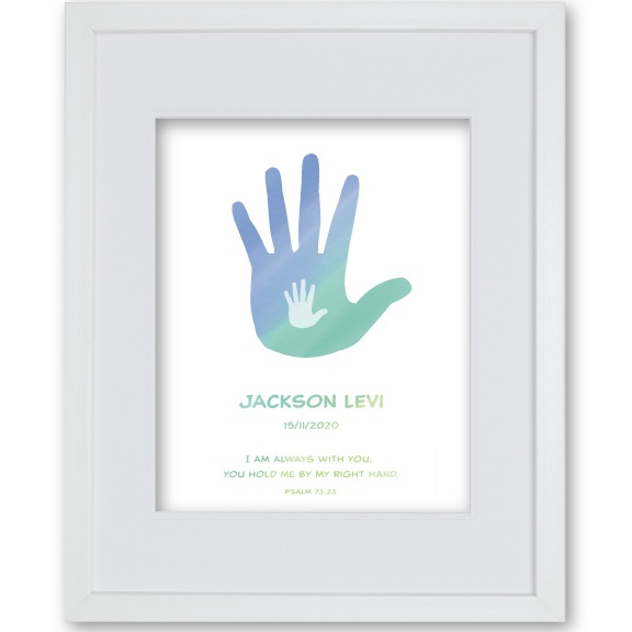Baptism Gift Baby Boy - Hands Artwork Framed