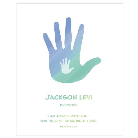Godson Baptism Gift Personalised Artwork - Hands