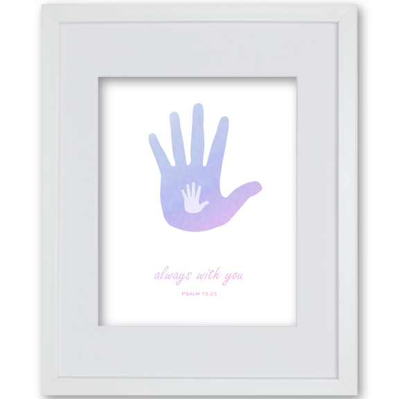 Baby Girl Baptism Gift Personalised Artwork - Hands