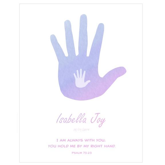 Goddaughter Baptism Gift Personalised Artwork - Hands