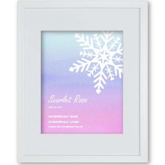 Baby Girl Christening Gift Personalised Artwork Snowflake